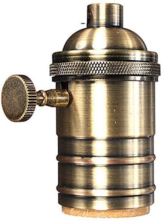 Brass Socket Vintage Lamp Socket E26 E27 With Switch Keyed Screw Thread Diy Bulb Holder For E27 Light Restoration Hardware Lighting Lamp Holder Edison Pendant
