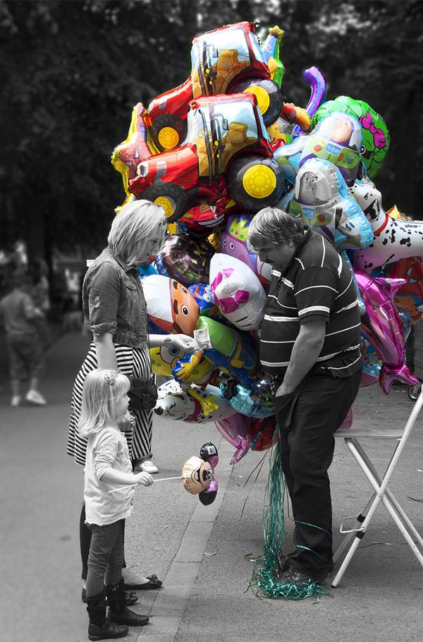 The balloon man by theresa elvin in impressive black white photography with a touch of color