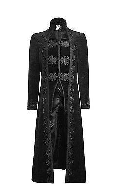 Punk-Rock-Mens-Coat-Jacket-Long-Black-Velvet-Gothic-Steampunk-Aristocrat-Regency