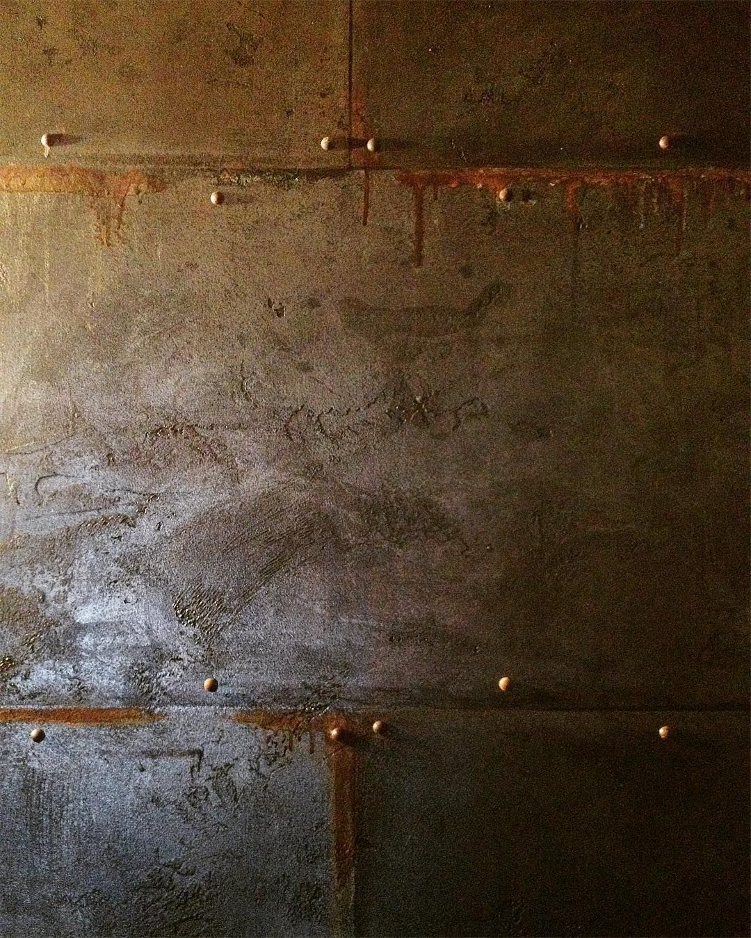 Patina Aluminium Accent Wall Ideas: Men's Room In A Winery With A Patina Wall Finish