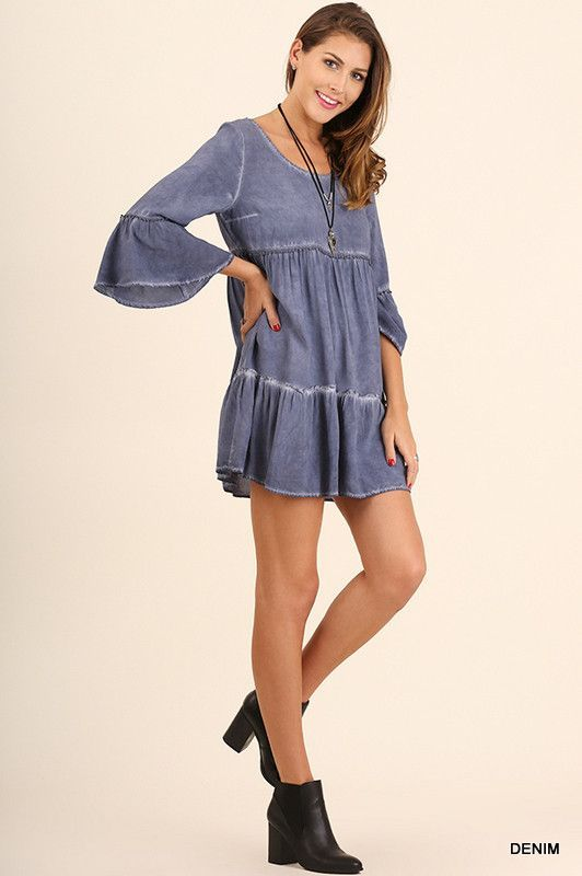 """""""Mandie"""" Tiered Vintage Washed Tunic/Dress, 3 colors"""
