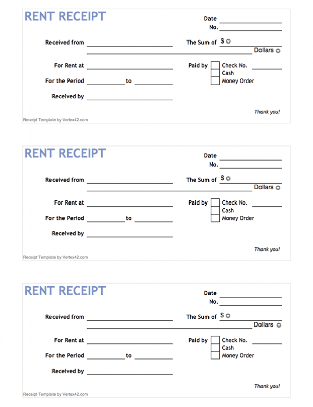 Free Printable Rent Receipt Form Pdf From Vertex42 Com Chickenhouses Receipt Template Being A Landlord Free Receipt Template