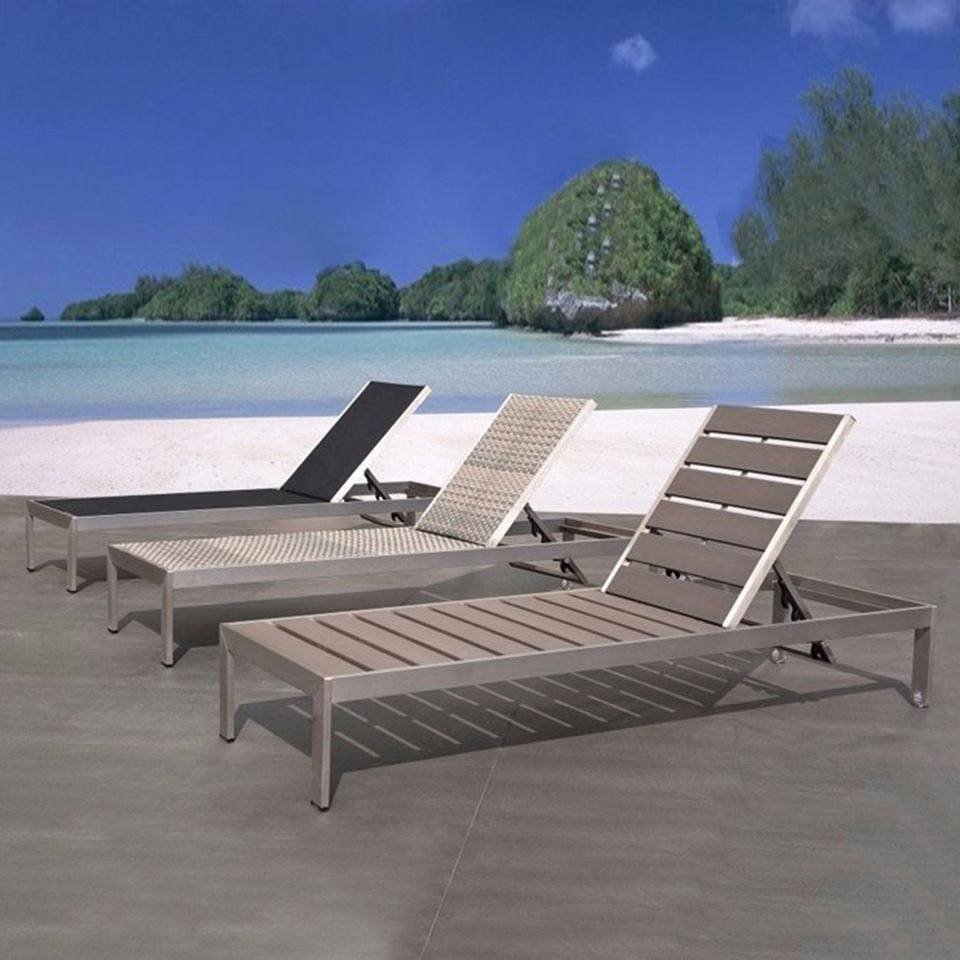 Swimming Pool Chaise Lounge Plastic Wood Outdoor Furniture Sun