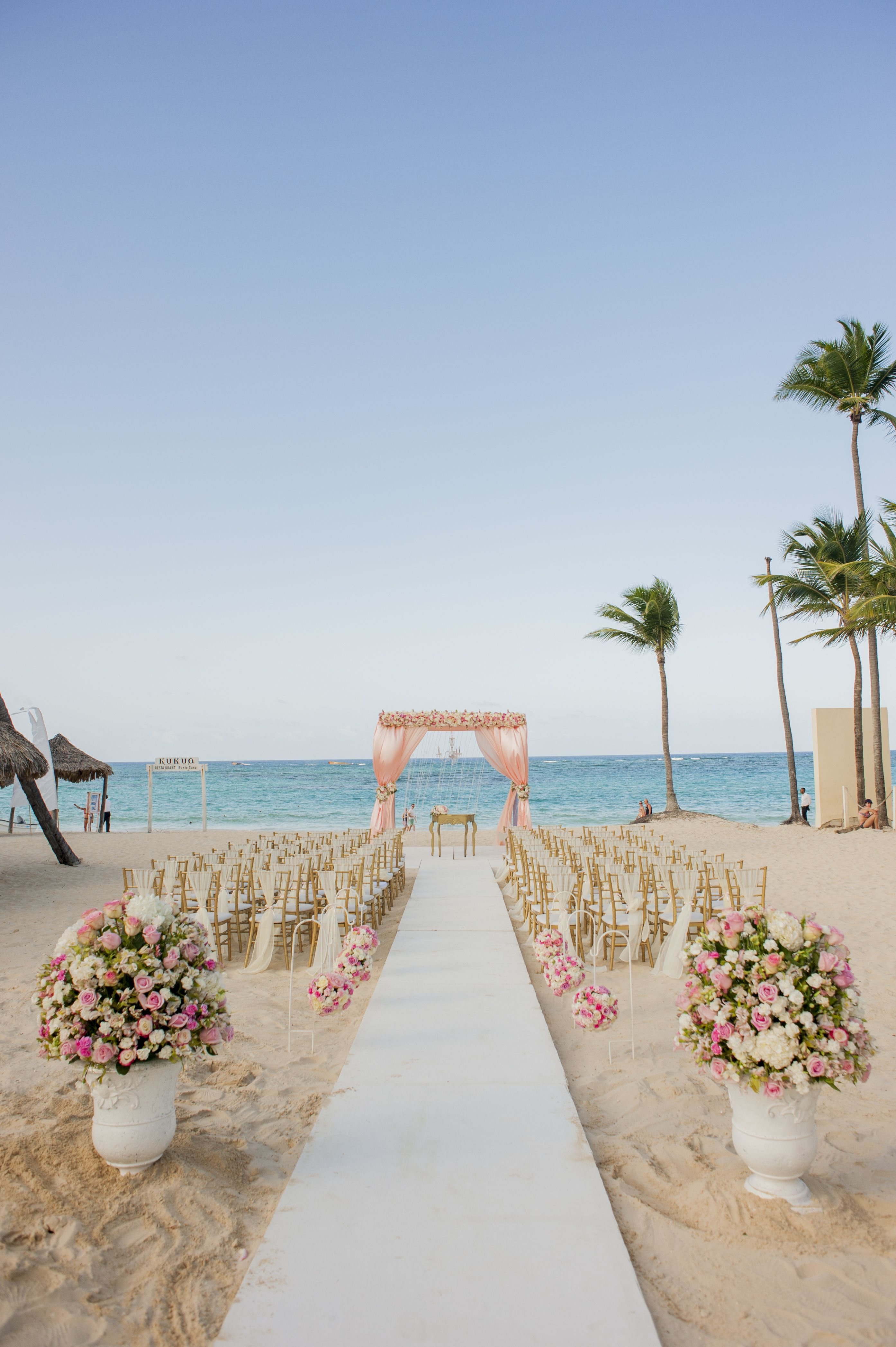 Pink Floral Gazebo Romantic Beach Wedding Venue Kukua Punta Cana