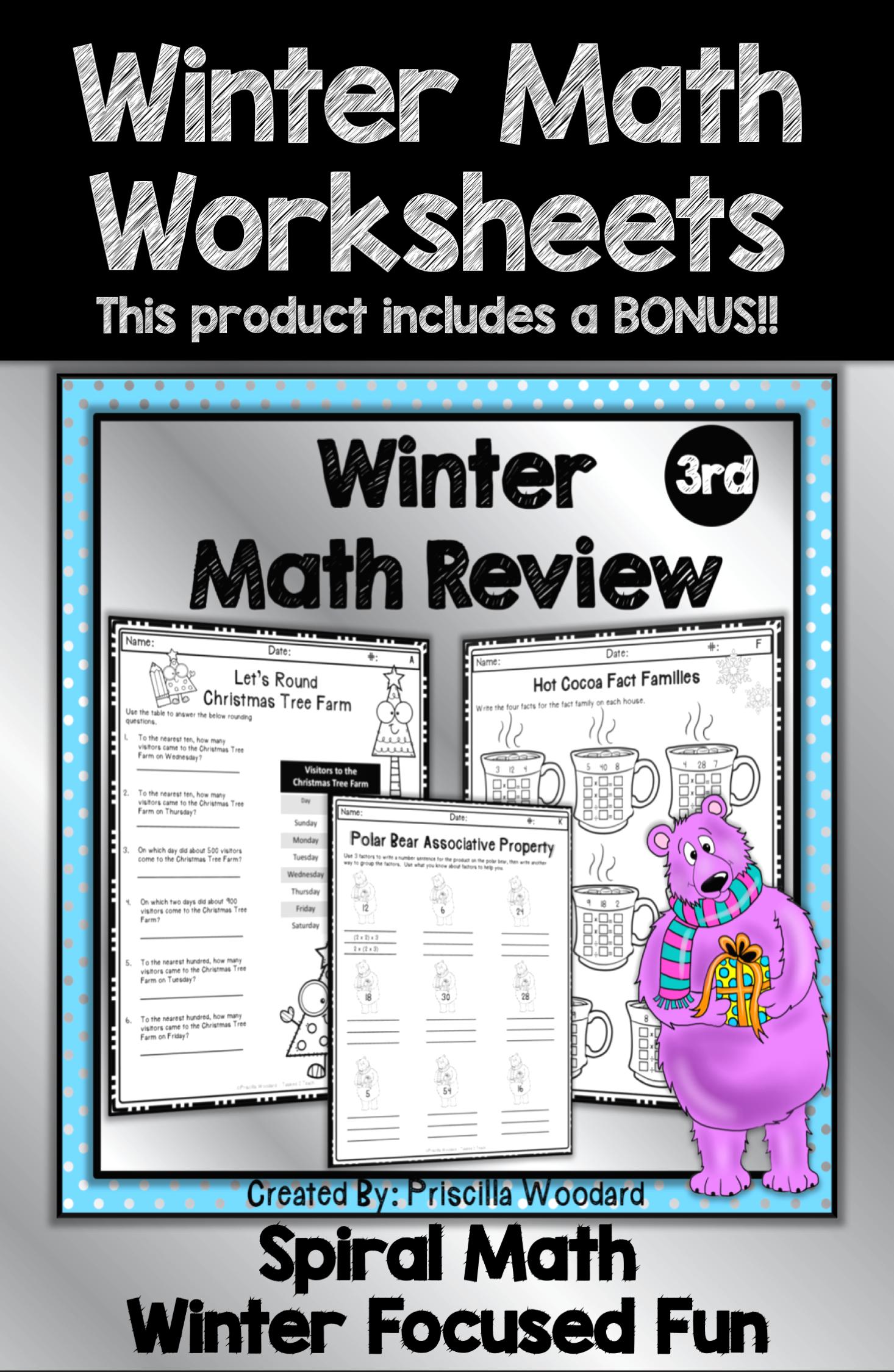 3rd Grade Winter Math Worksheets Spiral Review Winter Math Worksheets Winter Math Math Worksheets [ 2249 x 1466 Pixel ]