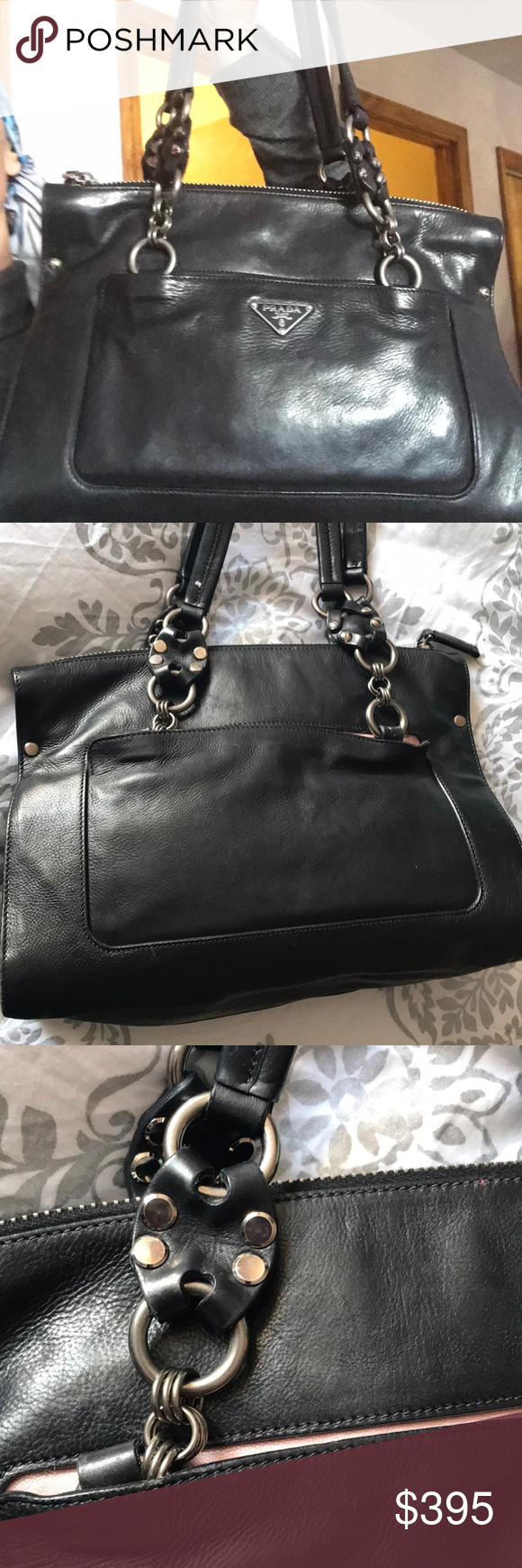 f31771dc672852 Prada Leather Motorcycle Biker Bag Purse Very cool style- rare find.  Leather interior. Silky lined inner pocket that zips. Lambskin. Prada Bags