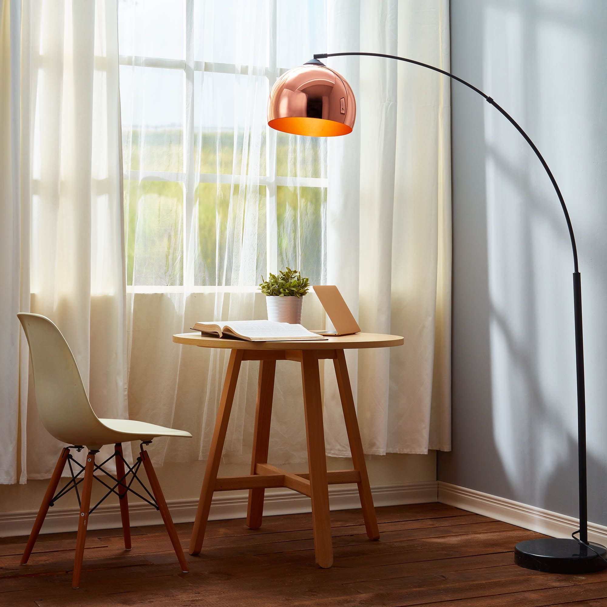 Teamson Arquer Arc Floor Lamp with Copper Shade and Black Marble ...