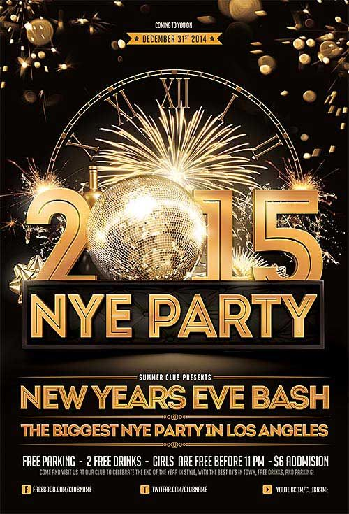 New Years Eve Free Psd Flyer Template  HttpFreepsdflyerComNew