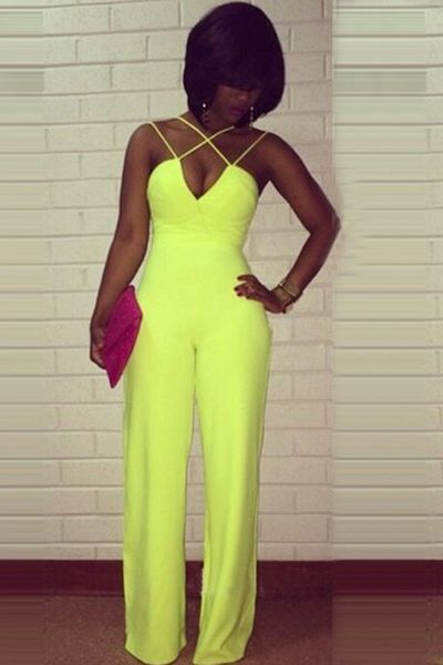 Cheap Sexy V Neck Off The Shoulder Sleeveless Backless Solid Yellow Polyester One-piece Regular Jumpsuit