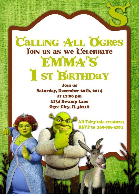 Real life shrek and fiona wedding invitations