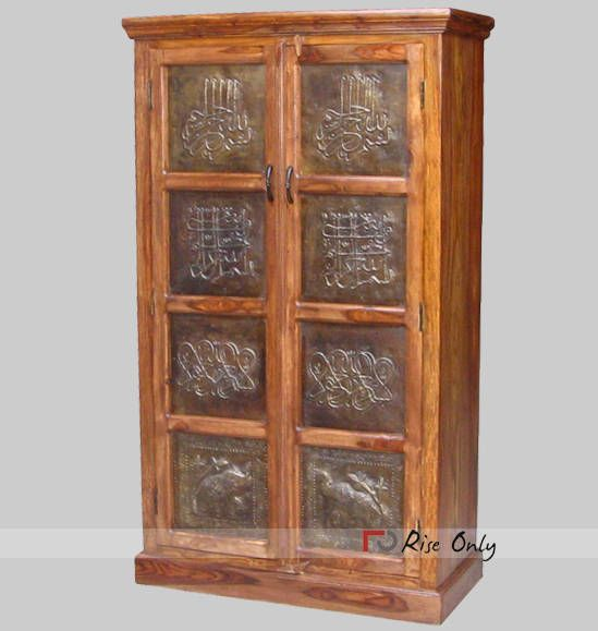 Designs Of Wooden Almirah With Brass Blocks Rise Only Brass Fitted