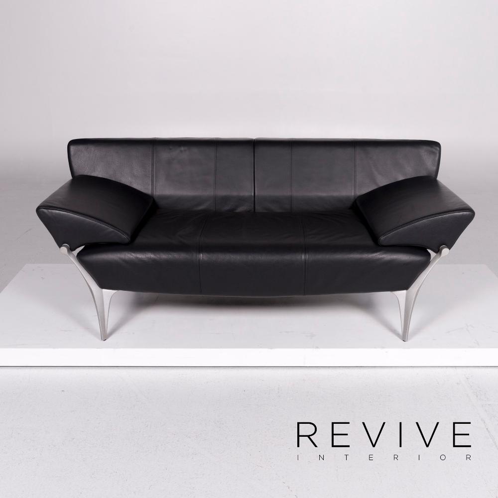 Rolf Benz 1600 Leder Sofa Schwarz Zweisitzer Funktion Couch 10915 Schwarzes Sofa Futuristisches Design Sofa