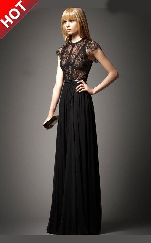 Elie Saab Terra with Lace Classic Black Long Evening Dress [Elie ...
