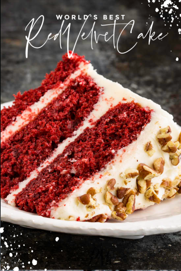 Red Velvet Layer Cake Recipe, this classic cake is moist, buttery, tender, and boldly red. #cake #dessert #recipe #redvelvet #southernfood #homemade #fromscratch #easy #layercake #Christmascake #ValentinesDay #creamcheesefrosting #celebration