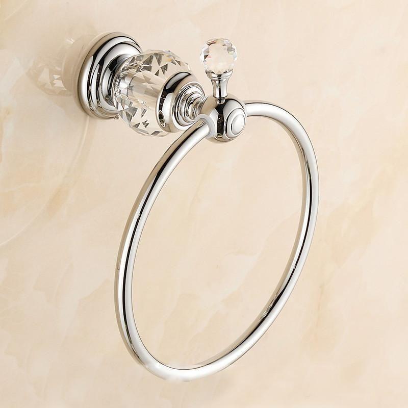 European Style Chrome Finished Crystal Bathroom Towel Ring Bathroom Towel Hold Bathroom Accessories