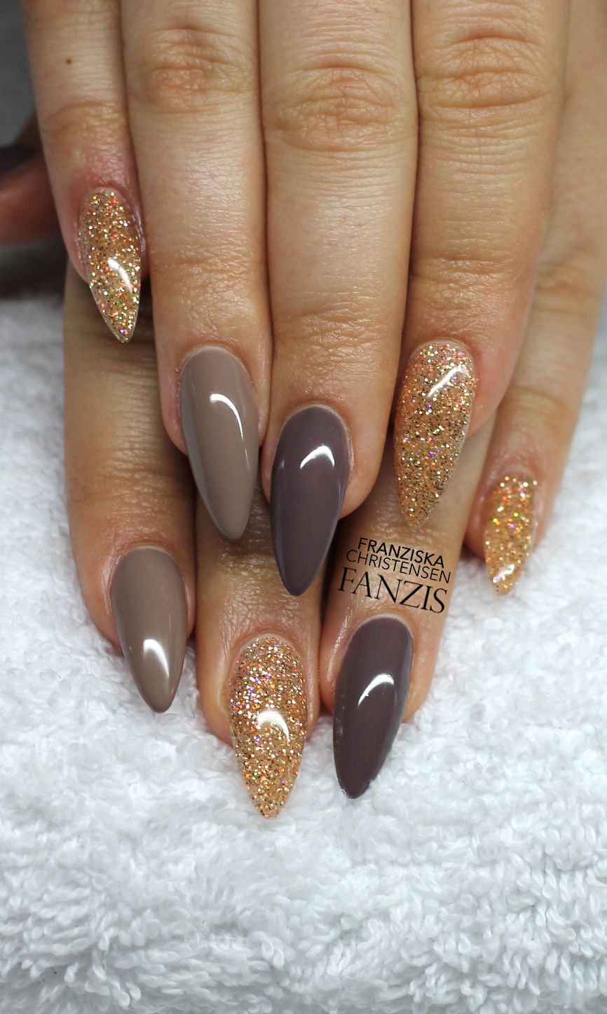 Grey, brown with gold glitter stiletto. | nails | Pinterest | Gold ...