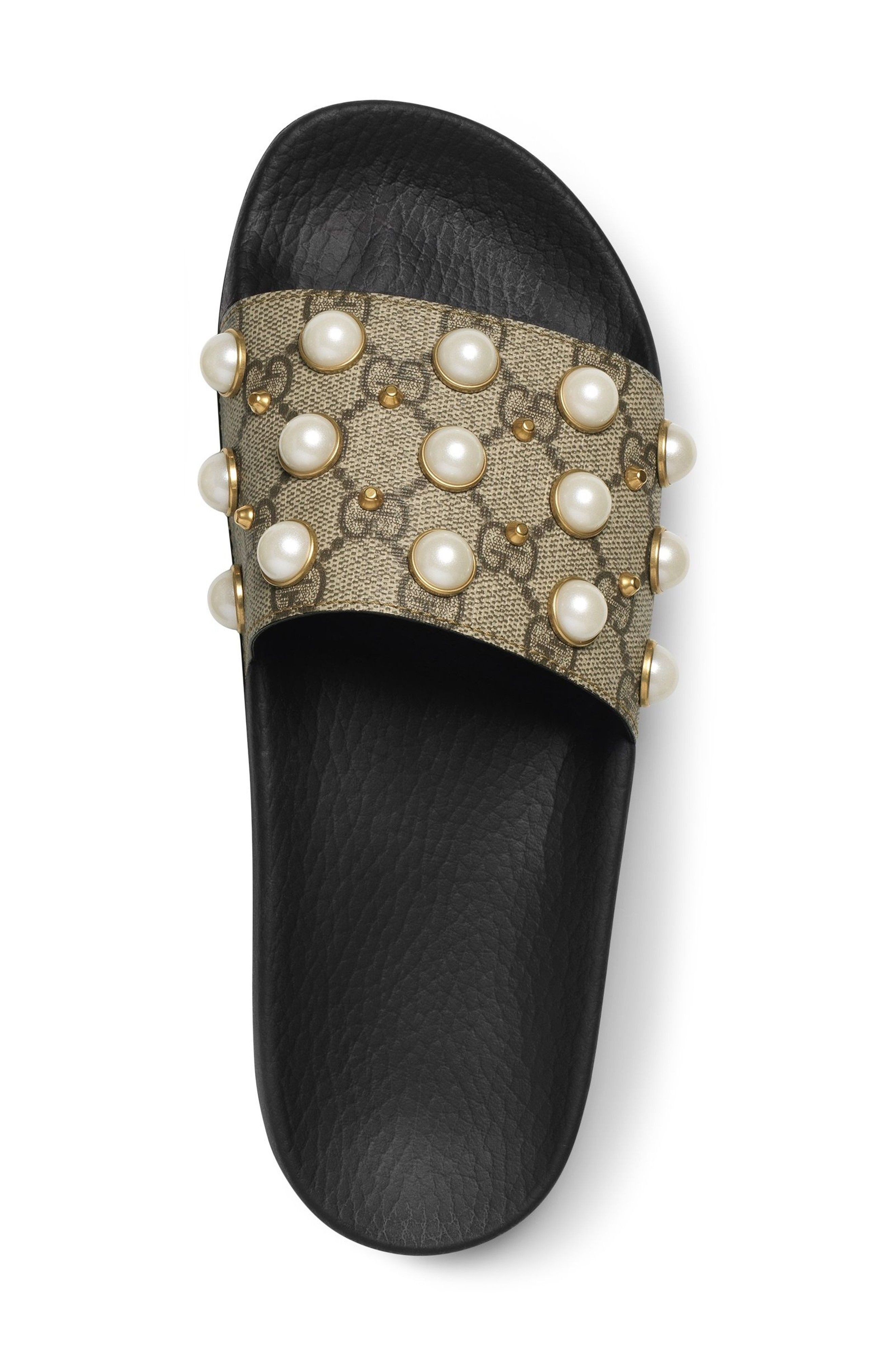 2e7481499 Pursuit Imitation Pearl Embellished Slide Sandal gucci