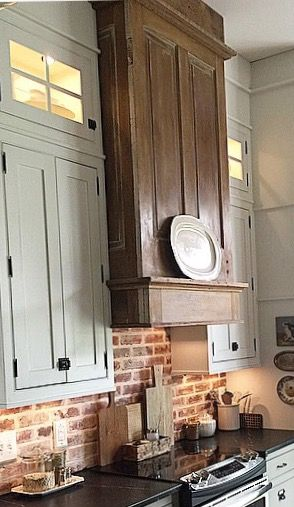 Blessedmamatobabygirls Instagram Love That Hood Made Of Old Doors Country Kitchen Farmhouse Trendy Kitchen Backsplash Country Kitchen Cabinets