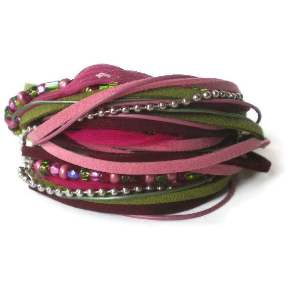 pink boho chic wrap bracelet suede leather ball by jcudesigns, £20.00