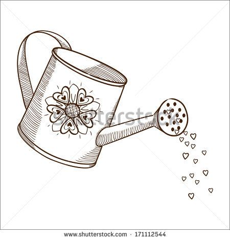 34++ Watering can clipart black and white ideas