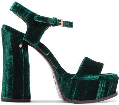 67f3a69f69d Shop for Perla Crushed-velvet Platform Sandals by Laurence Dacade on  ShopStyle.