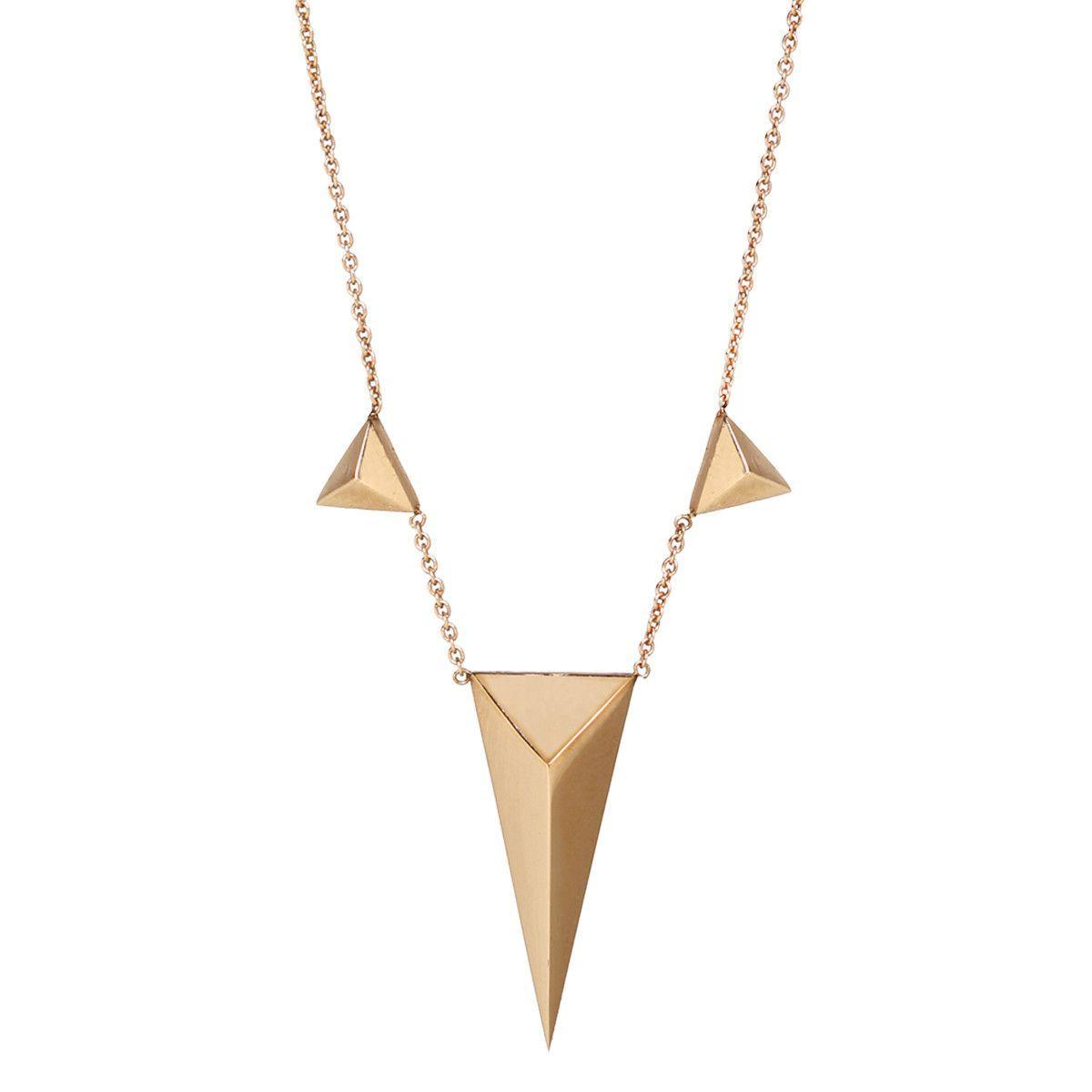 14k multi-triangle pyramids necklace