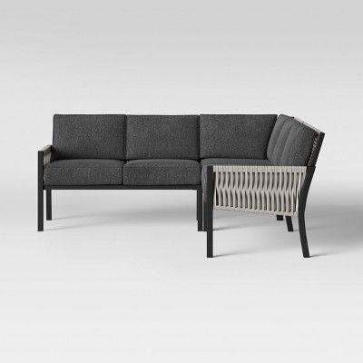 Lunding 3pc Sectional Fire Patio Conversation Set Charcoal Project 62 Patio Sectional Patio Furniture Collection Conversation Set Patio