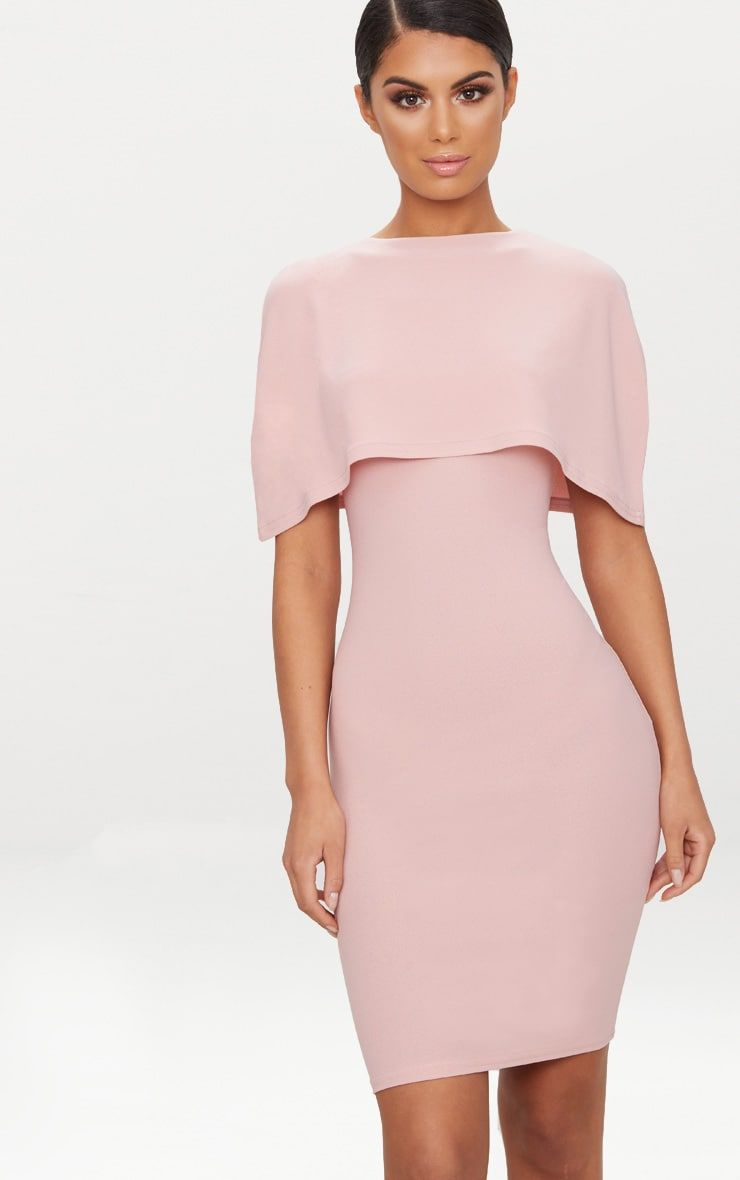Dusty Pink Cape Detail Midi Dress Pink Cape Dresses Wedding Guest Dress Summer [ 1180 x 740 Pixel ]