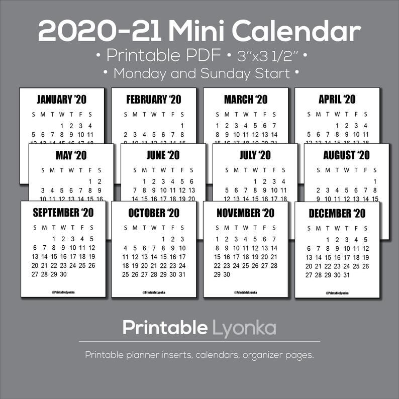 Small Printable Calendar 2022.2021 2022 Mini Calendar Tab Size 3 X 3 1 2inch Printable Etsy Mini Calendars Calendar Printables Monthly Calendar Printable