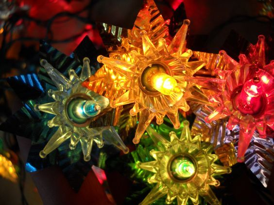 Vintage multi-colored Christmas tree lights with foil reflectors