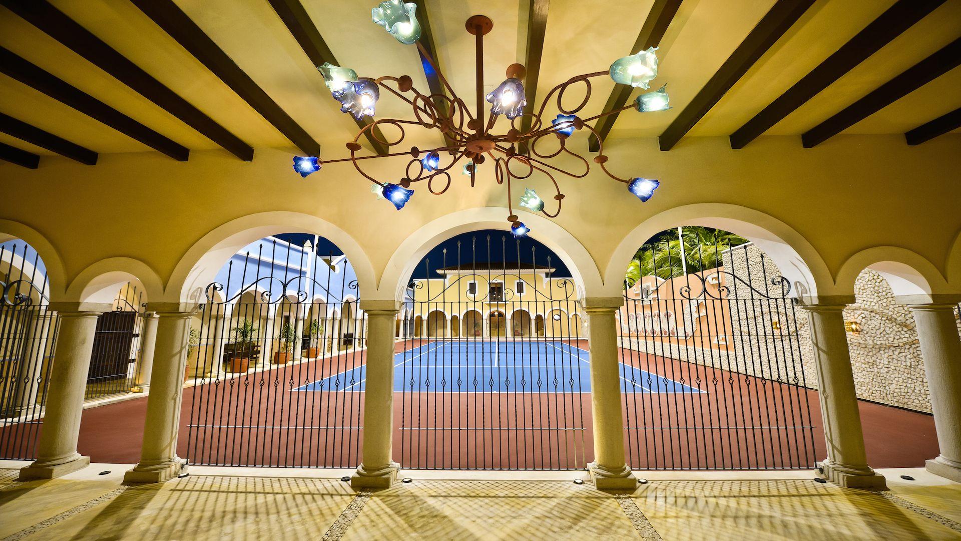 Hacienda Kukulkan Tennis Court At Night Hacienda Riviera Maya Private Tennis Court