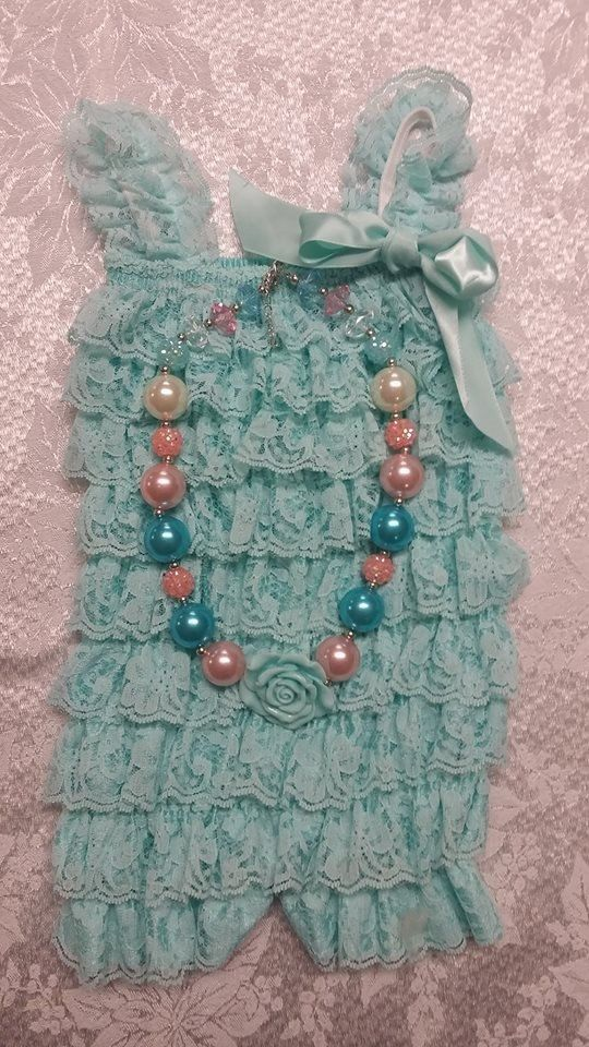 Aqua Lace Romper Set Includes Headband, romper, chunky necklace Toddler Romper Set Infant Romper Set Lace Romper Vintage Romper