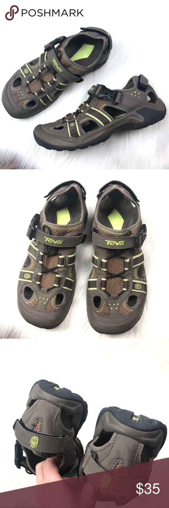 444c2923c06f Teva Women s Omnium Hiking Sandal size 8 Teva Women s Omnium Hiking Sandal  size 8. Brown Gray with lime green yellow accents. Velcro and elastic  stretch ...