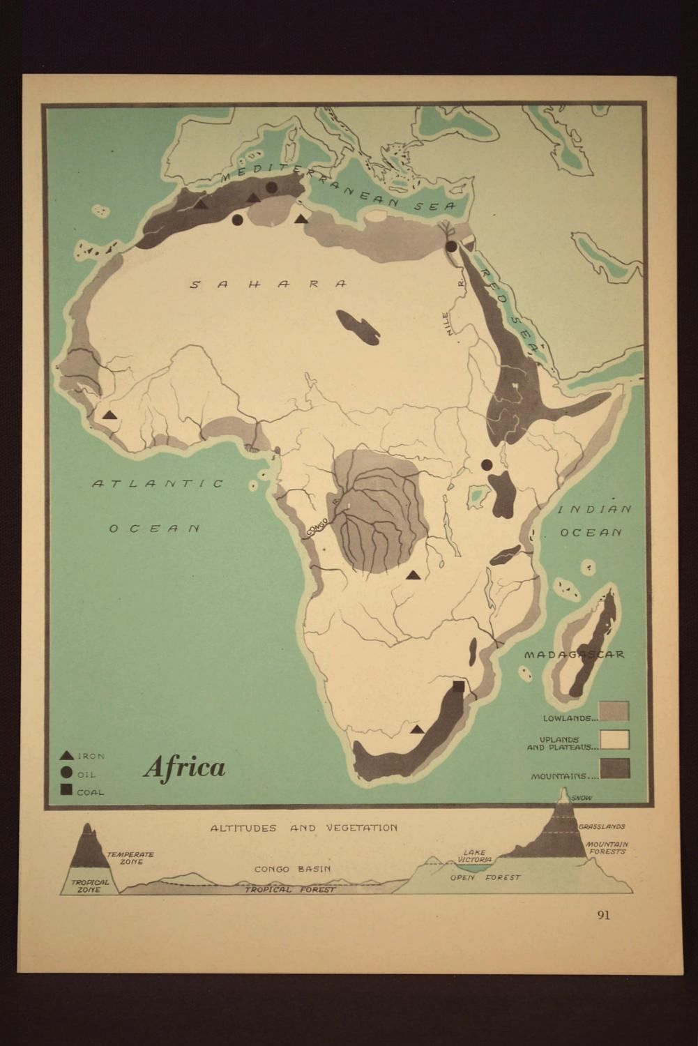 Africa Map of Africa Wall Art Physical Map Vintage Green 1940s ...