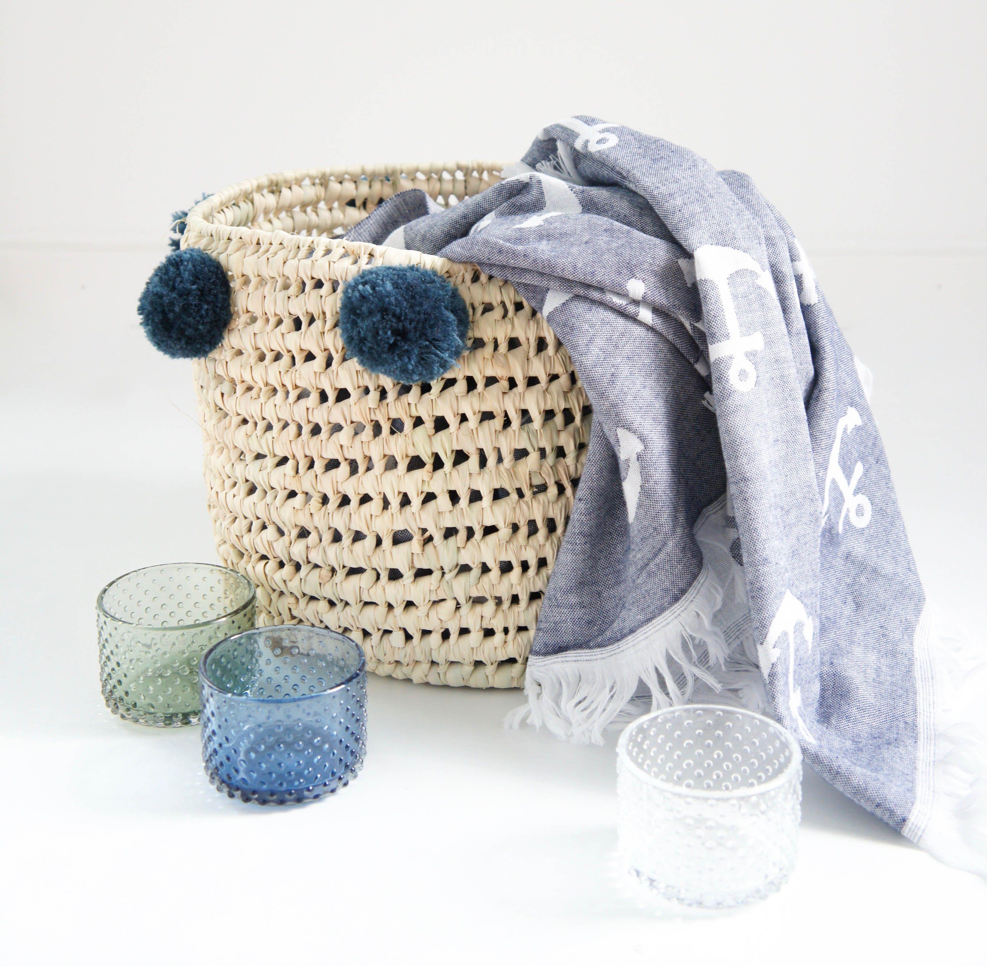 Bastkorb Klein Pompom Graublau Blaue Handtucher Spielzeugkorb Korb