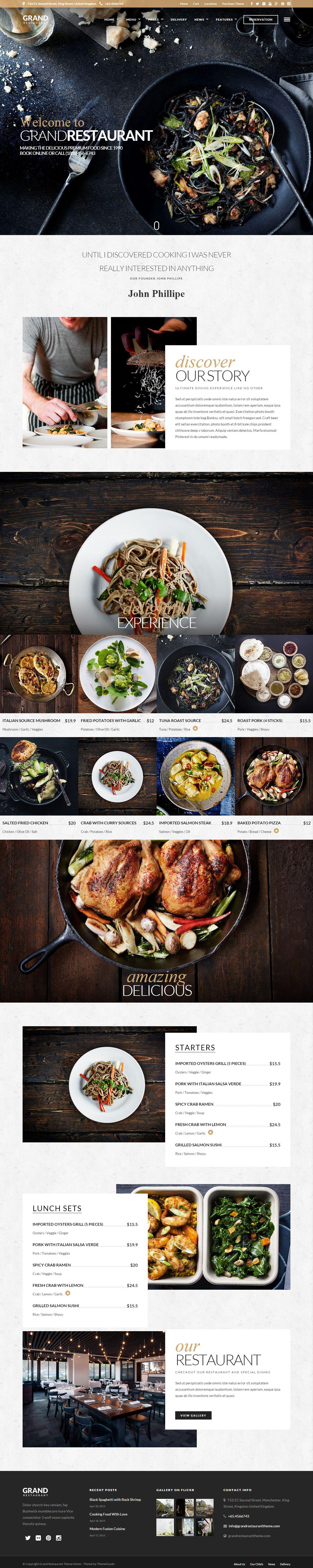 grand restaurant is premium responsive retina parallax wordpress