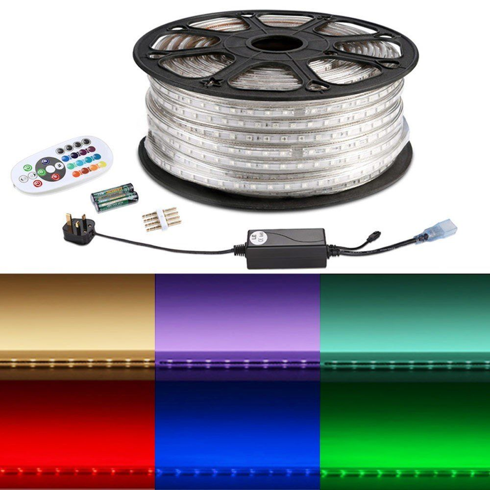 50m Rgb Led Strip Kit Remote 5050 Colour Changing Tape Strip Lighting Waterproof Led Led