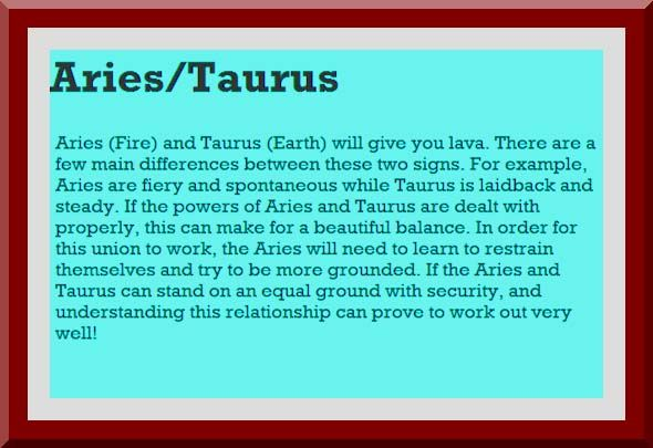 aries man and taurus woman relationship