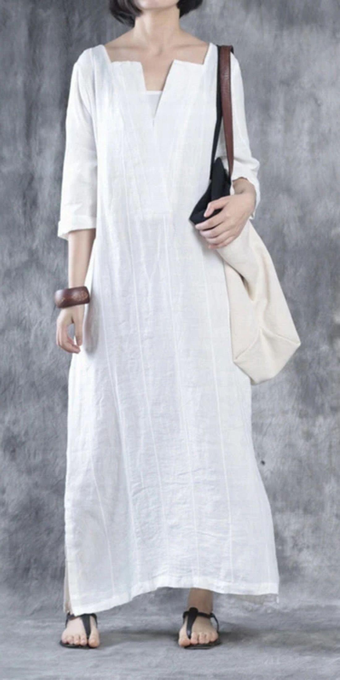 White Linen Dresses Oversize Maxi Dress Linen Caftans In 2021 White Linen Dresses Fashion Linen Dresses [ 2200 x 1100 Pixel ]