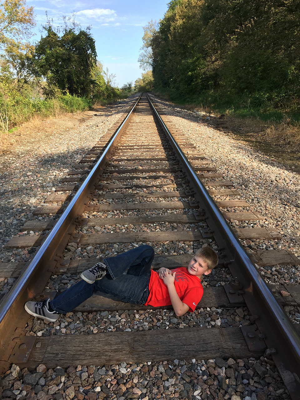 Stay 'on track'...but get out of the way if you hear a train coming!