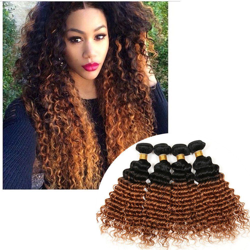 Shengqi Hair Brazilian Ombre Deep Wave Curly Hair Weave 4 Bundles