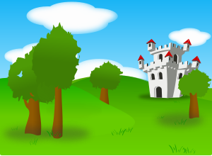 "Castle by @Peileppe, A small castle (from ibinbin) from which i removed the stroke, into carlitos's landscape in which i added, and modified trees - i also add a path to the castle in which i tested the new texture ""sand"" from inkscape 0.46"
