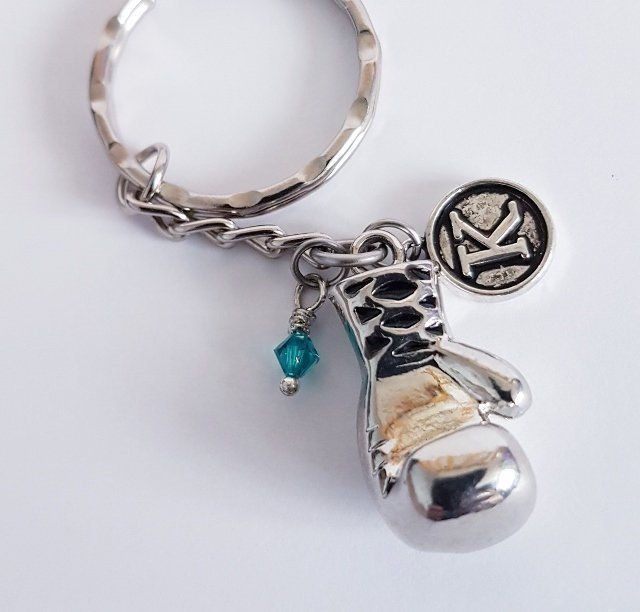 a9f6fc72c2c Boxing Glove Keychain, personalised keyring with Swarovski Crystal  birthstone and initial charms, motivational gifts