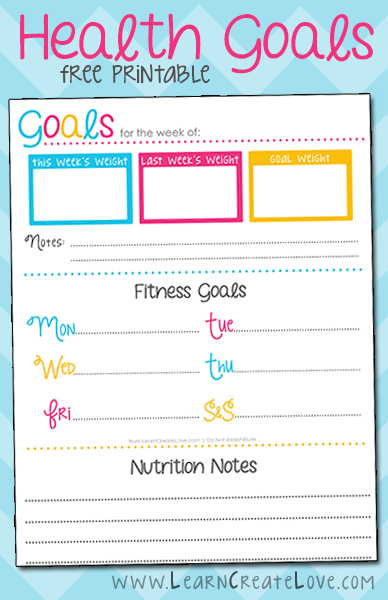 Printable health goals tracker laminate and use a dry for Weight loss goals template