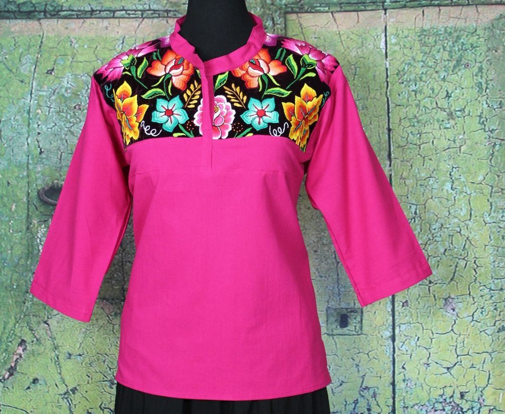 Hot Pink & Maroon Hand Embroidered Floral Blouse, Tehuana