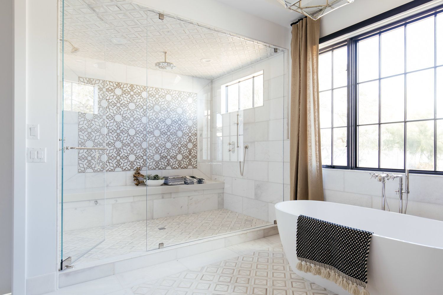 Jaw Dropping Master Bathroom Design By The Lifestyled Co Extra Large Shower With Bench Seat An With Images Timeless Bathroom Master Bathroom Design Bathroom Tile Designs
