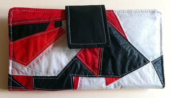 Womens Recycled Paraglider BiFold Clutch Purse Wallet by OffChutes,