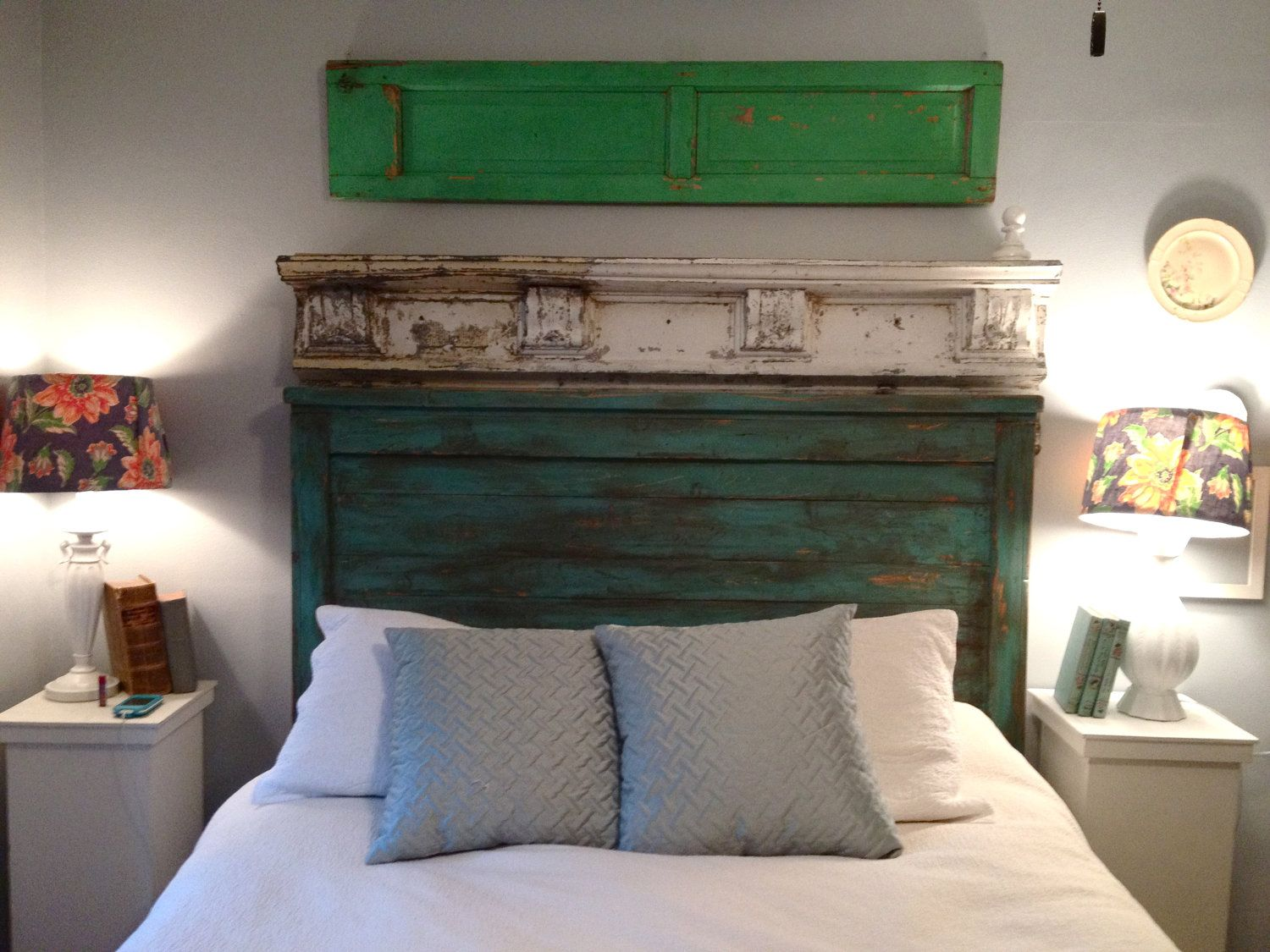 Distressed Queen size headboard - Turquoise - Custom colors ...