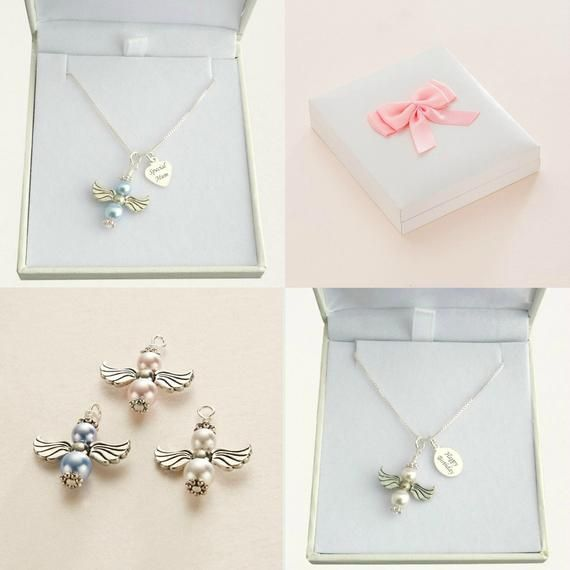 Angel Necklaces with Engraved Sterling Silver Tag for Mum, Mummy, Daughter etc #mumsetc