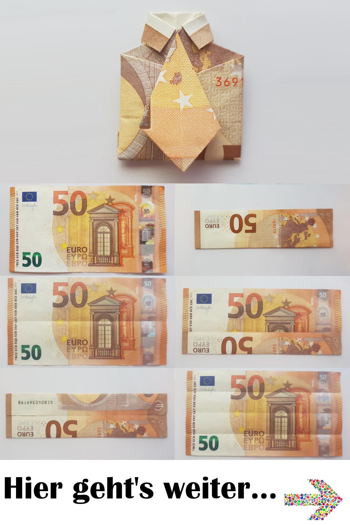 Hemd mit Krawatte aus einem Geldschein falten - So einfach geht's - Tutorial #origamianleitungen